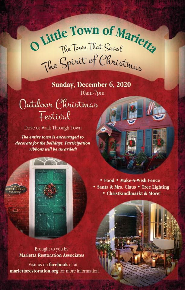 2020 Christmas Walk, December 6 Outdoor Christmas Festival 2020 – Marietta, PA